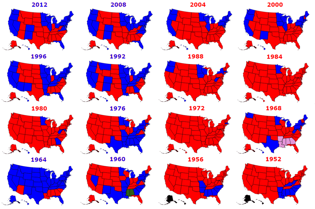 Clickable Map Of The United States Historical US Presidential - Us states election map