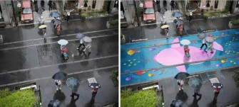 Streets of Seoul Painted with Murals that Only Appear in the Rain