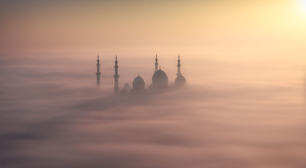 Photo and caption by Khalid Al Hammadi I was waiting for this scene a long time ago, The master piece Sheikh Zayed Grand Mosque floating and embracing by nature creates a magical rare scene during sunrise with its shadows reflected over the fog. I took this shot from the rooftop of 31 floor building in the first day of January, 2015, the first light of the new year was magical. I was chasing the weather everyday, after dozens of times I found what I was looking for, the moment that I can see how nature can embraces the architecture. Photo in Abu Dhabi