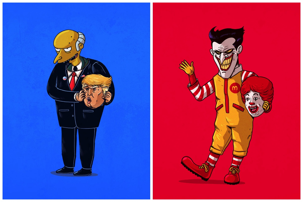 Cartoon Characters Unmasked : Artist reveals secret identity of famous characters