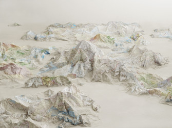 Flat Maps Sculpted into Three Dimensions by Ji Zhou