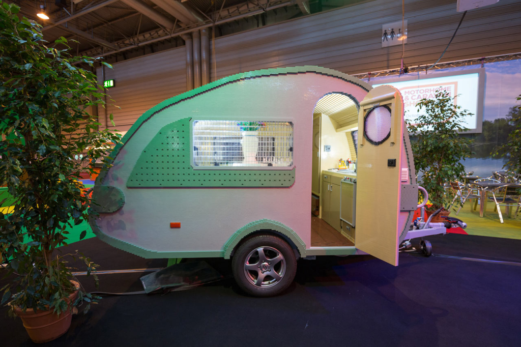 A Functional Life-Size Camping Trailer Made From LEGO Bricks