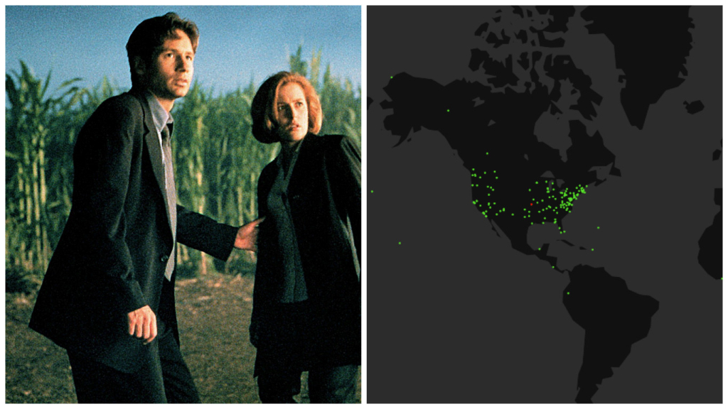 """This Map Shows Every Place Mulder and Scully Went on """"The X-Files"""""""
