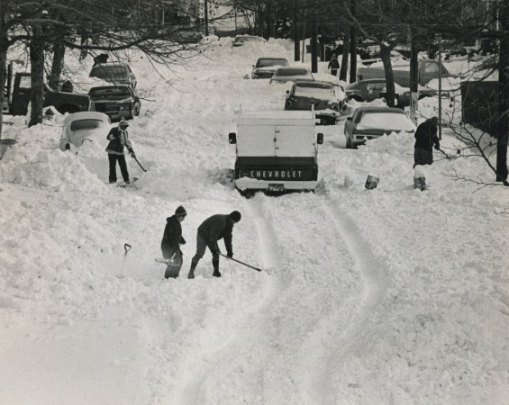 Residents of Home Place, Graniteville, begin the arduous task of cleaning up from the record snow. Photo circa 1978.(Staten Island Advance/Robert Parsons)