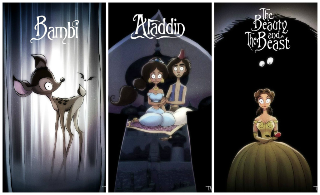 See Classic Disney Movie Posters Done Tim Burton-Style