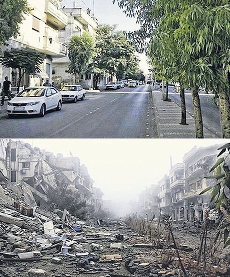 The same street in Homs, in 2011 (above) and 2014 (below)