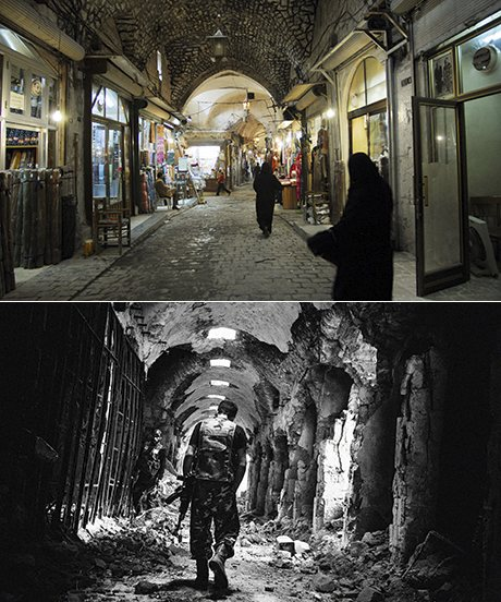 The Old Souk, Aleppo. Above in 2007 and below in 2013. Photographs: Corbis, Stanley Greene/Noor/Eyevine