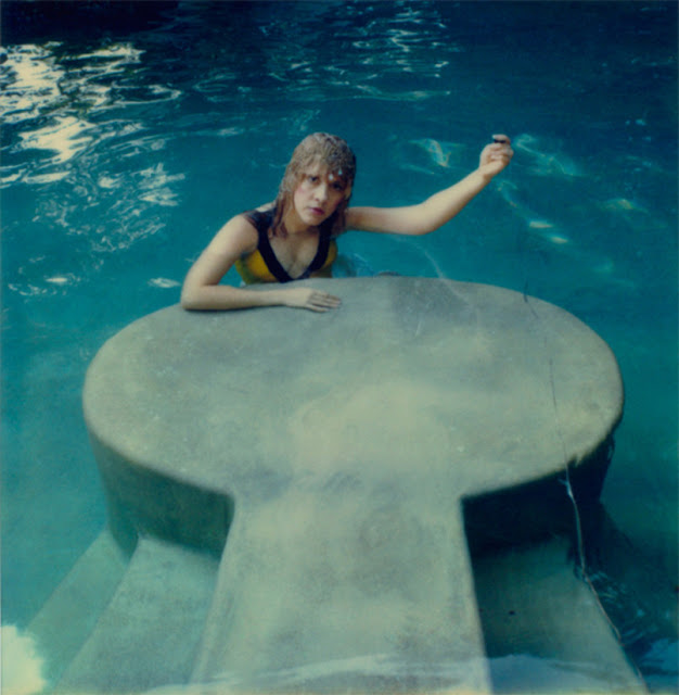 In this undated selfie, Stevie Nicks captures herself in the pool using a long cable to trip the shutter.