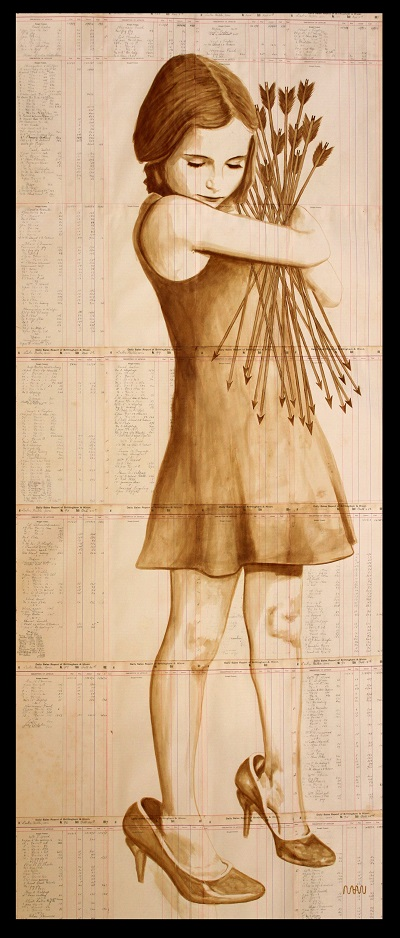 Girl Holding Arrows Coffee Art