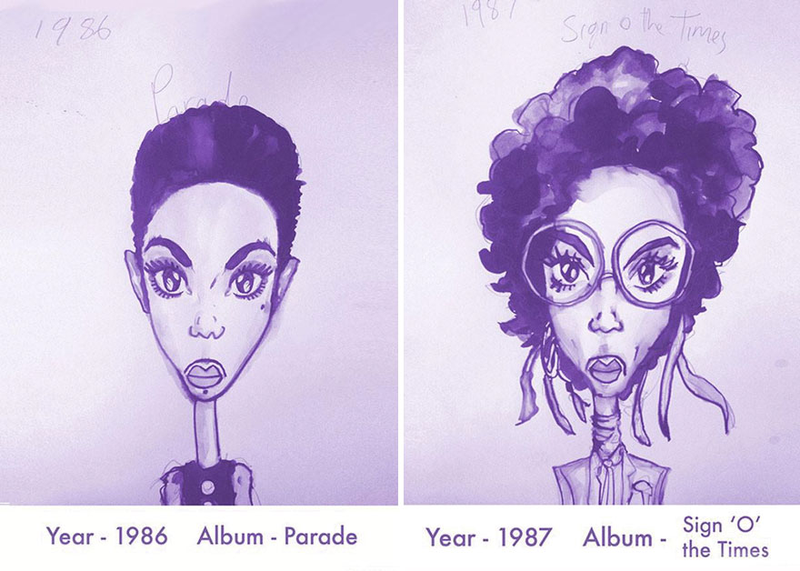 Prince Hairstyle Sketches, by Gary Card