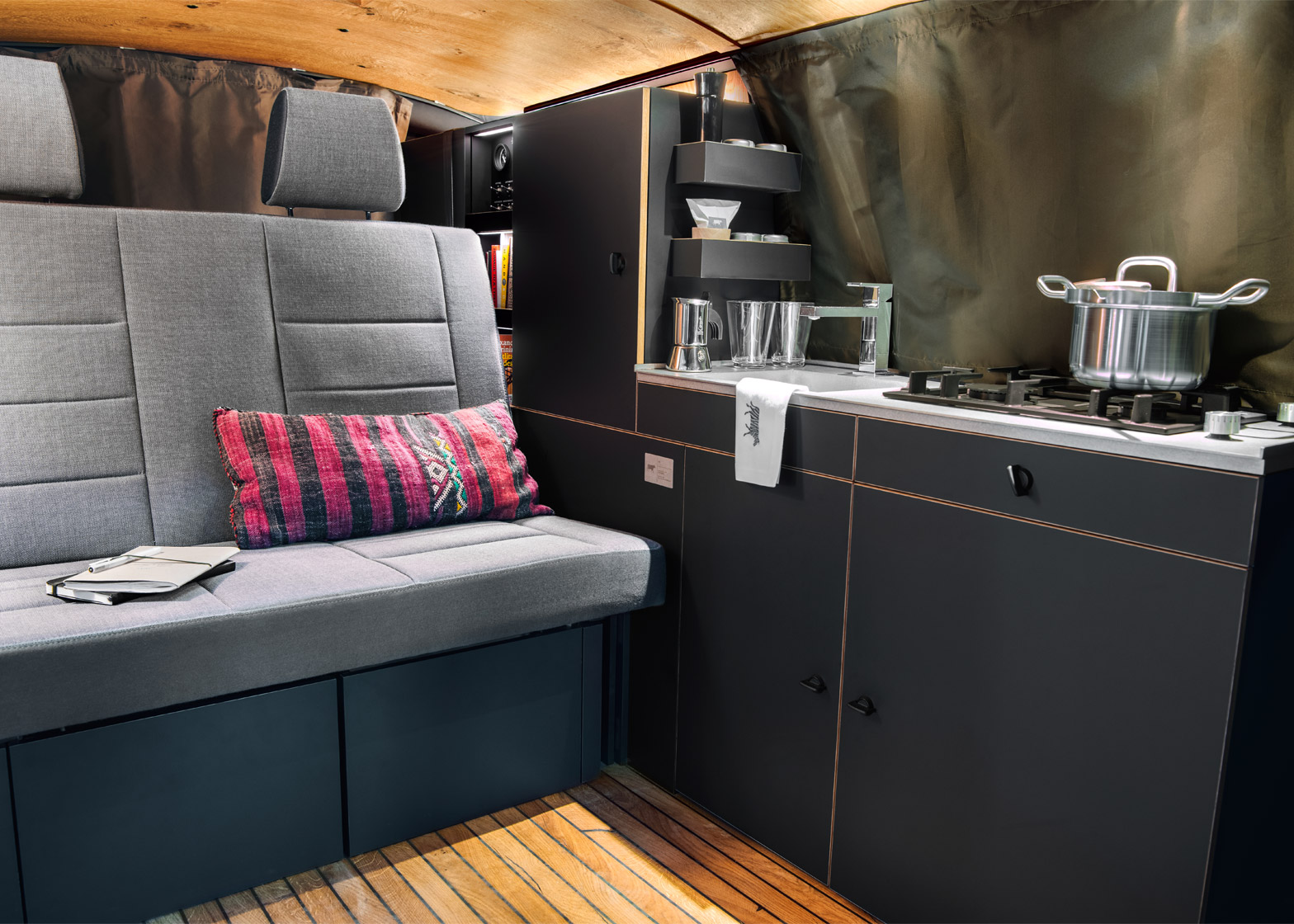 This minimalist camper van is a designers dream for Campervan interior designs