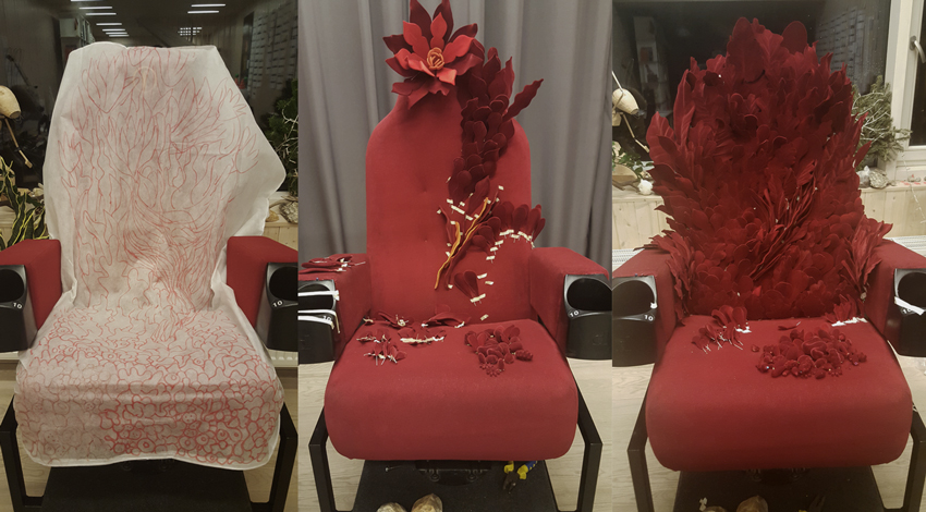 Chair vegetation elements were constructed from plastic cut-outs and ready made objects. After covered in red fuzz with flocking technique to achieve velvet look.