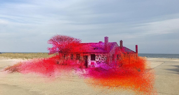 Rockway Spray Painted Beach House, by Katharina Grosse