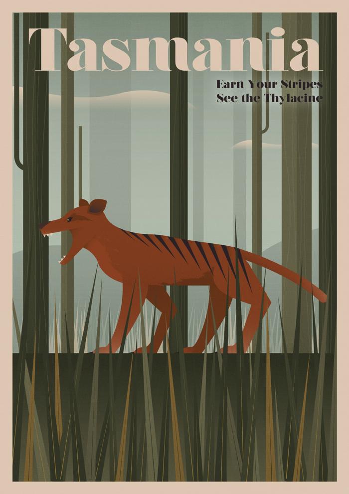 Tasmania Thylacine Poster