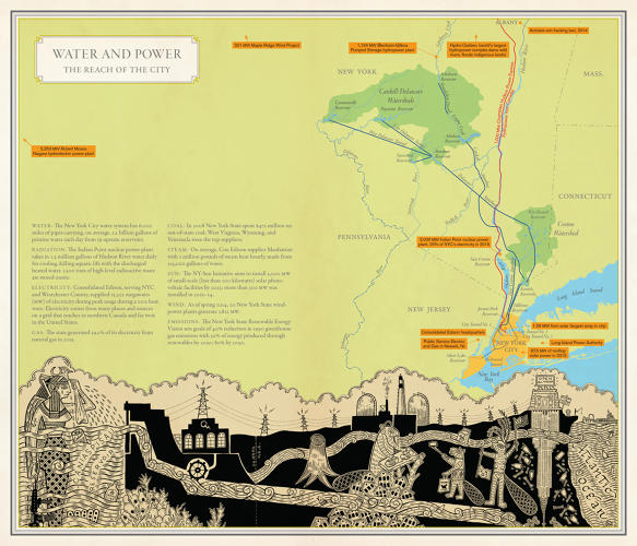 Water and Power: The Reach of the City by Molly Roy (cartography) and Duke Riley (artwork)