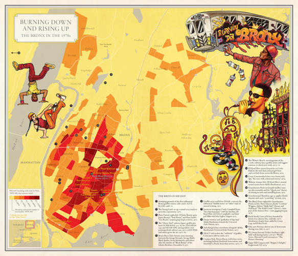 NYC Maps: Burning down and rising up
