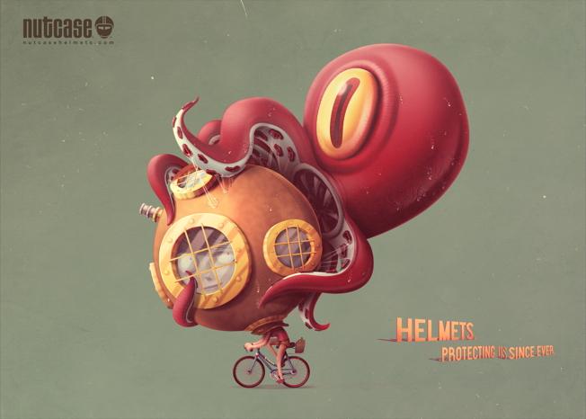 nutcase helmet ads octopus